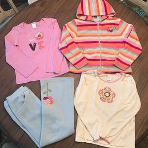 Gymboree size 8 zip hoodie, two tops & pants set